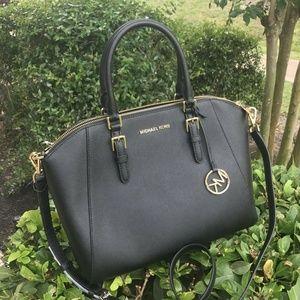 Michael Kors Ciara Leather Large Satchel Bag Black